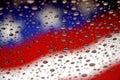 Vlaggen en waterdalingen Stock Foto