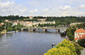 Vltava river in prague s historical center Stock Photo