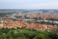 Vltava river in prague s historical center view from petrin lookout tower Royalty Free Stock Images