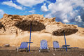 Vlychada beach at sunset, Santorini island Royalty Free Stock Photo