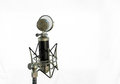 Vocal condenser microphone with wind screen  on white background Royalty Free Stock Photo