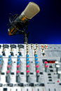 Vocal Mic and Mixer Stock Photo