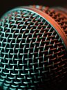 Vocal microphone macro photo of a lit with stage lights Stock Photos