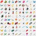 100 vocation icons set, isometric 3d style Royalty Free Stock Photo