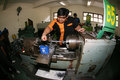 Vocation school vocational students to practice metal lathe in the city of solo central java indonesia Royalty Free Stock Photography