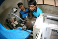 Vocation school vocational students to practice metal lathe in the city of solo central java indonesia Stock Images