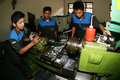 Vocation school vocational students to practice metal lathe in the city of solo central java indonesia Royalty Free Stock Images