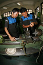 Vocation school vocational students to practice metal lathe in the city of solo central java indonesia Stock Photography