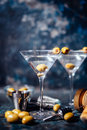 Vodka martini, gin tonic cocktail served in restaurant, pub and bar. Long drink cocktail concept Royalty Free Stock Photo