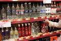 Vodka the netherlands march selection of vodkas and spirits at a store is made by the distillation of fermented cereal grains or Royalty Free Stock Image