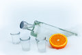 Vodka and orange in the snow bottle of with Royalty Free Stock Image
