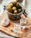 Vodka pickled cucumbers in a small jar and two shots Royalty Free Stock Image