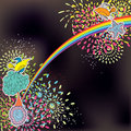 Vogel-Art-Karte Rainbow_eps Stockbilder