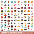 100 vogue journal icons set, flat style