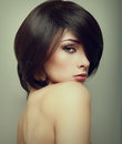 Vogue portrait of alluring woman with short hair style closeup Stock Image