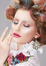Vogue Style. Daydreaming Nifty Woman with Closed Eyes Royalty Free Stock Photo