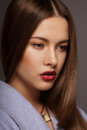 Vogue style portrait of young luxurious posh woman Stock Photo