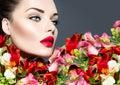 Vogue style woman portrait beautiful face makeup Stock Photos
