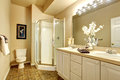 Voguish bathroom with white walls and glass shower classy tile floor Stock Image