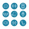 Voice Recording & Voiceover Icon Set with Microphone, Voice Scan