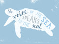 The voice of the sea speaks to the soul lettering Royalty Free Stock Photo