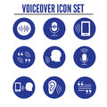 Voiceover or Voice Command Icon w Sound Wave Images