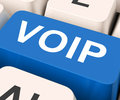 Voip Key Means Voice Over Internet Protocol Royalty Free Stock Photo