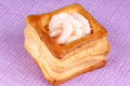 Vol au vent with shrimps close up of a small boiled over a pink fabric background Royalty Free Stock Photos