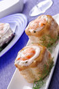 Vol au vent with  shrimps and mayonnaise Royalty Free Stock Photos