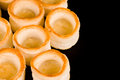 Vol au vents on black Royalty Free Stock Images