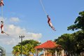 Voladores acrobat performers at flying men playa del carmen riviera maya yucatan mexico august so called perform a dance ceremony Stock Images