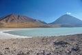 Volcan licancabur met schitterende landschappen van sur lipez zuiden b Royalty-vrije Stock Afbeelding