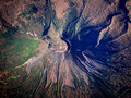 Volcanic crater aerial shot one of volcanoes in kamchatka Royalty Free Stock Photography
