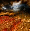 A volcanic eruption terrible natural disaster Stock Image