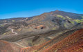 Volcanic landscape in the mountains of mount etna Stock Photos