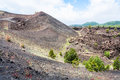 Volcanic landscape with old craters of Etna mount Royalty Free Stock Photo
