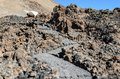 Volcanic lava landscape along the mountain path at the top of the Volcano Teide Royalty Free Stock Photo