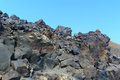 Volcanic rock etna the black and red basaltic on slope italy Stock Images