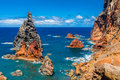 Volcanic rock formations on east coast of madeira portugal impressive the Royalty Free Stock Photo