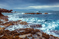 Volcanic seascape on the nature reserve Piscina di Venere Royalty Free Stock Photo