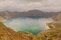 Volcano Crater Lake Panorama, Quilotoa, Ecuador Royalty Free Stock Photo