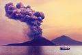 Volcano eruption anak krakatau indonesia Royalty Free Stock Photos