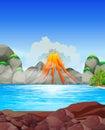 Volcano eruption at the lake Royalty Free Stock Photo