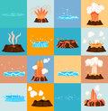 Volcano Eruption and Water Discharge by Geyser