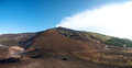 Volcano etna panoramic view of the early in the morning with a blue sky Stock Photo