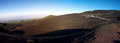 Volcano etna panoramic view of the early in the morning with a blue sky Royalty Free Stock Photos
