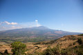 Volcano etna panoramic view of the early in the morning with a blue sky Royalty Free Stock Images