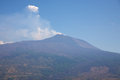 Volcano etna view of the early in the morning with a blue sky Royalty Free Stock Images