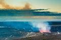 Volcano glow of an erupting at early sunrise at hawaii volcanoes national park big island hawaii Royalty Free Stock Images