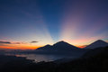 Volcano  and lake Batur at sunrise time, Bali, Indonesia. Royalty Free Stock Photo
